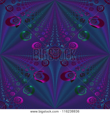 Seamless spiral and diamond pattern violet purple turquoise green