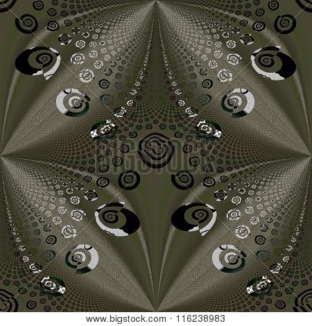 Seamless spiral and diamond pattern gold brown silver gray