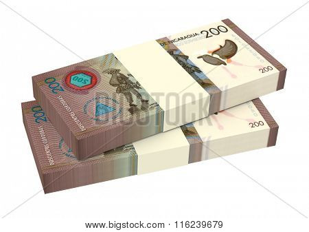Nicaraguan cordoba bills isolated on white background. Computer generated 3D photo rendering.