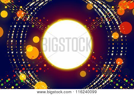 Blue Abstract Background, Ray And Gold Particle