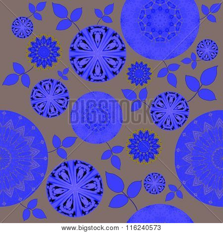 Seamless floral pattern blue purple silver gray