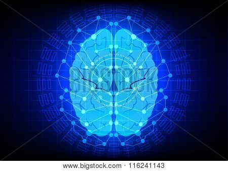 Abstract  Brain Technology Design On Blue Color Background