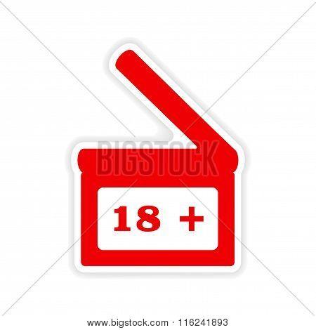 icon sticker realistic design on paper  Clapperboard