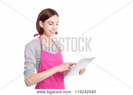 Woman Housewife With Tablet Pc