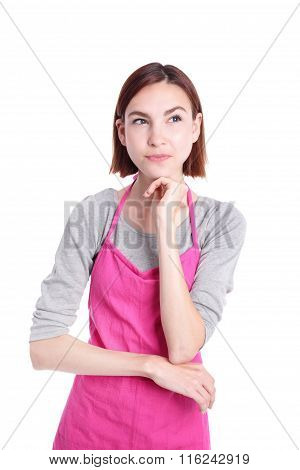 Serious Young Woman Housewife