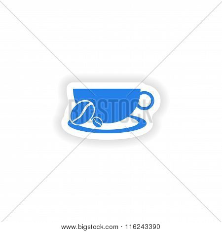 icon sticker realistic design on paper demitasse