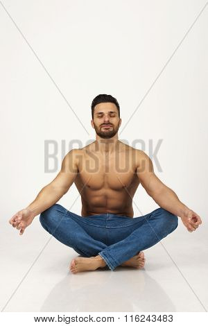 Man In Jeans On White, Isolated,practicing Yoga,calmness,meditation