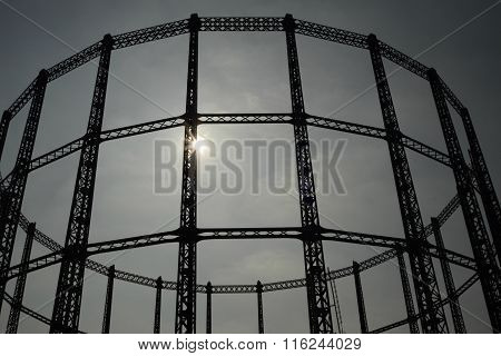 Disused gasholder in East London