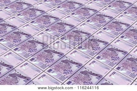 Congolese francs bills stacked background. Computer generated 3D photo rendering.