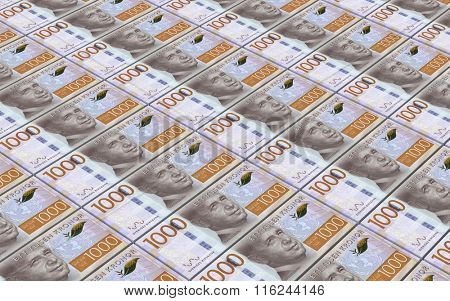 Swedish kronor bills stacks background. Computer generated 3D photo rendering.
