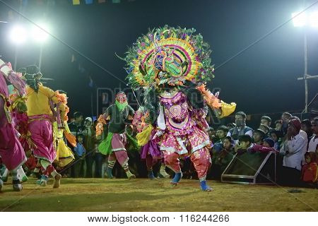 Chhau Dance, Indian Tribal Martial Dance At Night In Village