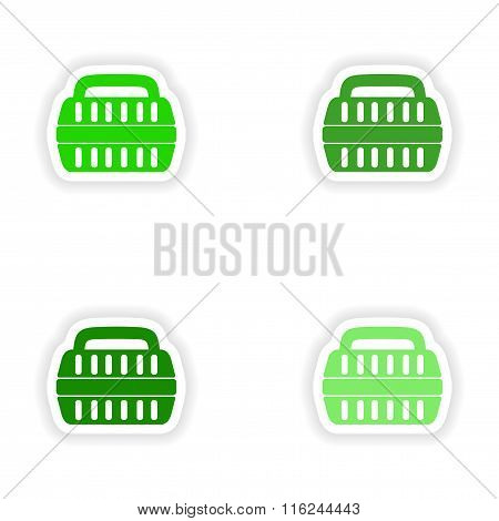 assembly realistic sticker design on paper container for transport of animals