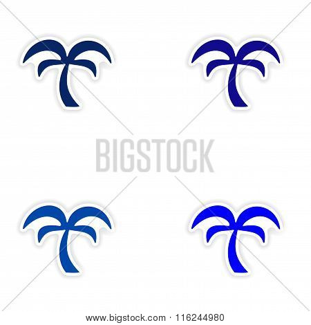 assembly realistic sticker design on paper palms trees