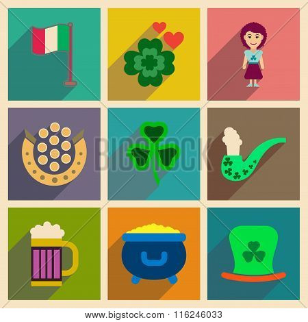 Concept of flat icons with long shadow St. Patrick's Festival