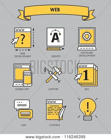 Vector Set Of Flat Line Creative Process, Design Process, Web Product Development Icons