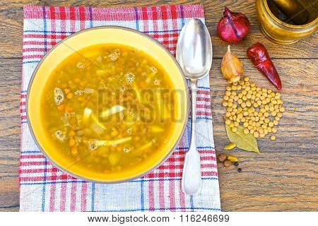 Healthy and Diet Food: Soup with Lentils
