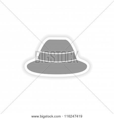 stylish paper sticker on white background hat