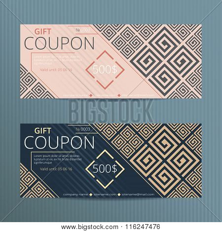 Vector gift coupon in greek style.