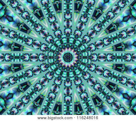 Seamless circle ornament turquoise green purple