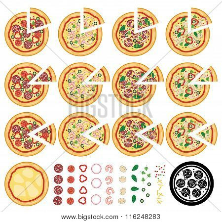 Vector Collection Of Italian Pizza Icons