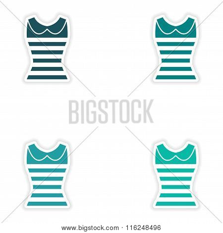 concept stylish paper sticker on white background women's T-shirt