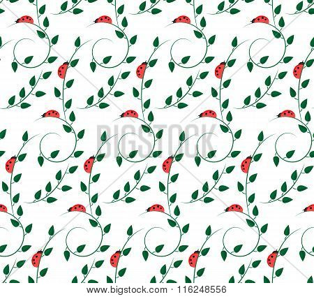pattern with ladybugs and green leaves