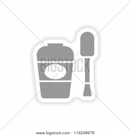 stylish paper sticker on white background nail polish