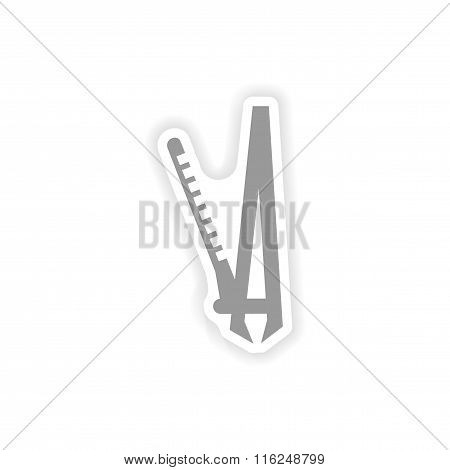 stylish paper sticker on white background Curling iron