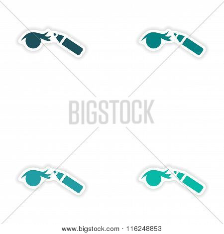 Set of paper stickers on white background Eyeliner