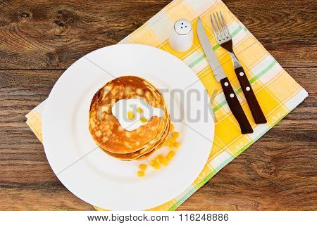 Tasty Pancakes Stack with Sweet Corn