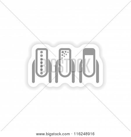 stylish paper sticker on white background manicure
