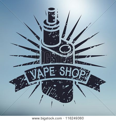 Vape Shop Logo On Blurred Background
