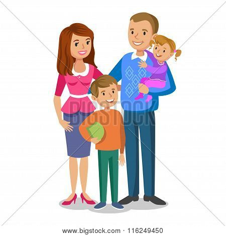 Happy Family Portrait, Smiling Parents And Kids. Concept Happy Family, Family Love. Vector