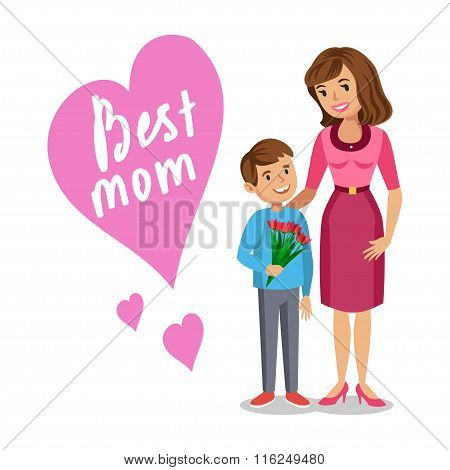 Mother And Her Son. Son Giving To Her Mother Flowers For Mother's Day. Vector Illustration.