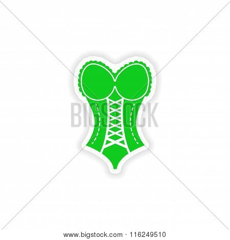 stylish paper sticker on white background women corset