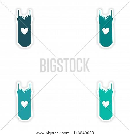 concept stylish paper sticker on white background nightdress
