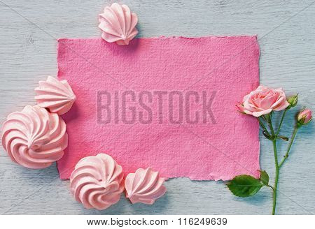 Valentine pink card with zephyr and pink rose