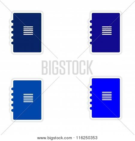 assembly realistic sticker design on paper notebook