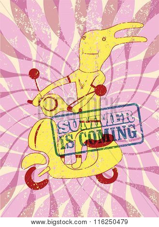 Summer is coming. Typographical retro grunge summer poster. Funny cartoon rabbit riding a scooter. V