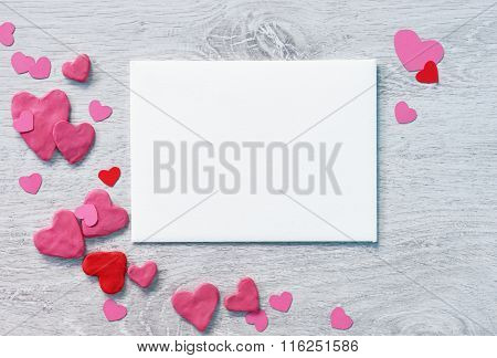 Valentine's card for congratulation with heap of small hearts
