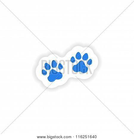 icon sticker realistic design on paper traces animals
