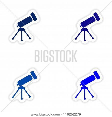 assembly realistic sticker design on paper telescope