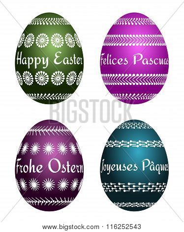Easter eggs with four languages