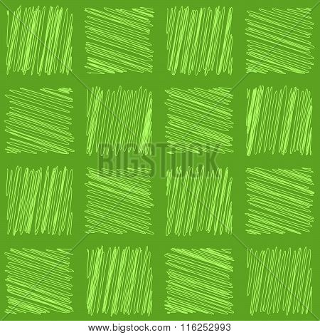 Seamless scribbled squares design on a green background