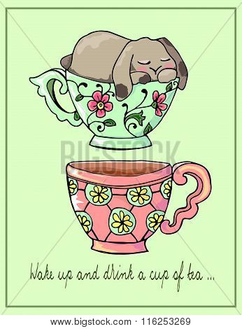 Hand-drawn Illustrations. Bright Teacups. Postcard Cute Funny Fell Asleep In A Cup.