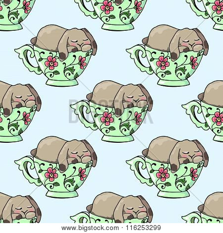 Hand-drawn Illustrations. Bright Teacups. Postcard Cute Funny Fell Asleep In A Cup. Seamless Pattern