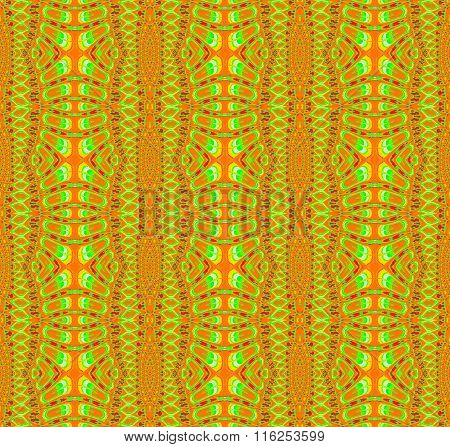 Seamless ellipses and stripes pattern orange red green