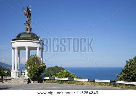 Arbour with an angel on the southern coast of Crimea