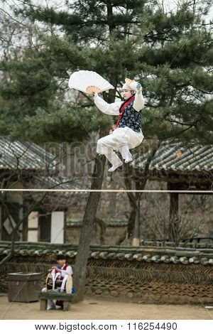 Seoul, South Korea - January 28, 2016: Acrobatics On A Tightrope Walking At Korean Folk Village On J