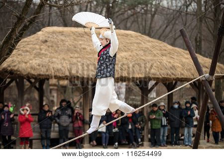 Acrobatics on a Tightrope walking at Korean Folk Village